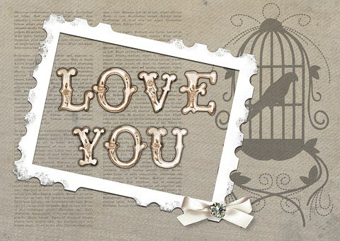 Love, You, Card, Bird, Cage, Greeting, Day, Romantic