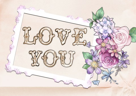 Love, You, Card, Flower, Pink, Greeting