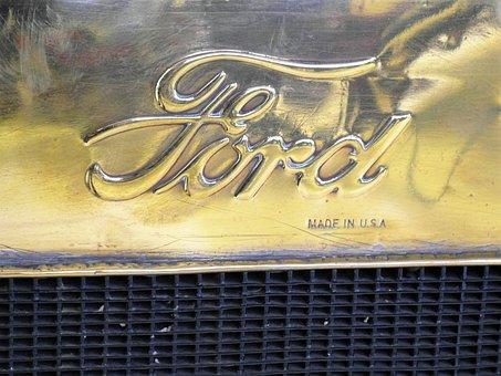 Ford, Automotive Logo, Radiator Ford T, Retro