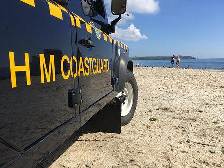 Coastguard, Beach, Coast, Car