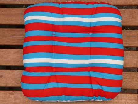 Pillow, Seat Cushions, Garden Bench, Striped, Blue, Red