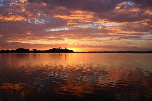 Lake Macquarie, Sunset, Water, Beautiful, Sky, Clouds