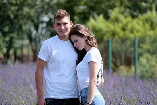 Couple, Lavender, Love, Hug, Nature, Beauty, Girl, Boy
