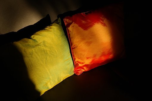 Pillow, Seat Cushions, Sofa, Green, Red
