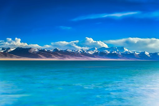 China, Mountains, Snow, Sky, Clouds, Landscape, Scenic