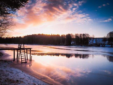 Lake, Sunset, Abendstimmung, Romance, Nature, Landscape