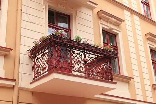 Poland, Torun, Architecture, Balcony