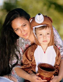 Mom, Son, Teddy Bear, Love, Hug, Family