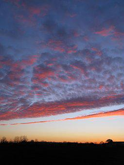 Sunset, Winter, Clouds, Evening, Sly, Pinl Color, Light