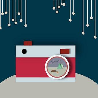 Camera, Vector Illustration, Flat Design, Blue