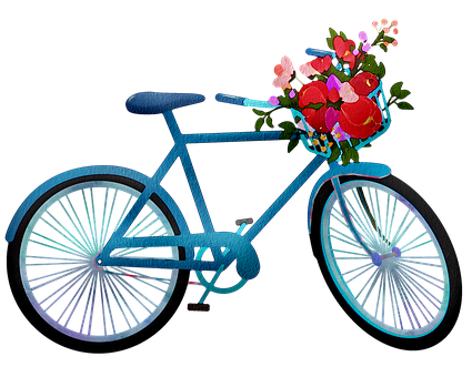 Watercolor Bicycle, Flowers, Bicycle, Watercolor