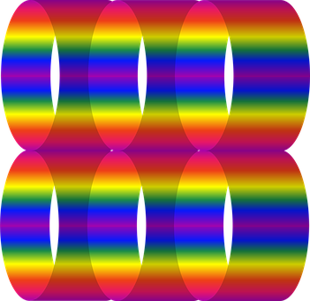 Abstract, Gradient, 3d, Cylinders, Rainbow, Roygbiv