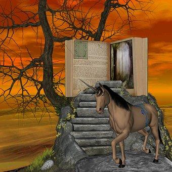 Fantasy, Unicorn, Book, Sky, Horse, Animal, Magic