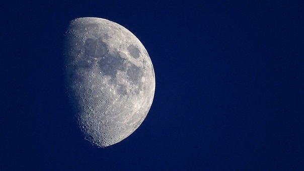 Moon, Night, Craters, Moonlight, Sky