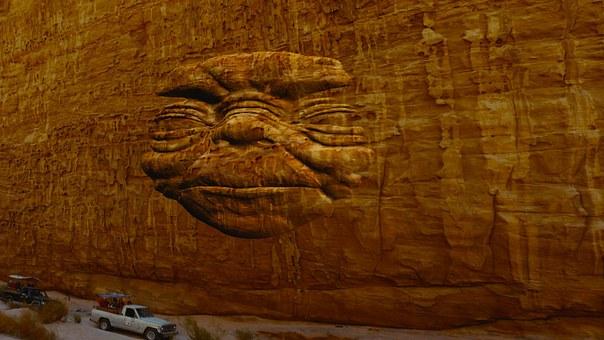 Desert, Cliff, Sculpture, Face, Enigmatic, Mysterious