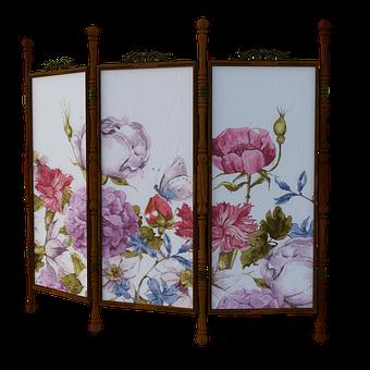 Screen, Folding, Wood, Wooden, Flowers, Furniture