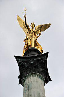 Munich, Angel Of Peace, Sculpture, Gold Plated
