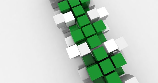 Cube, Green, White, Design, Modern