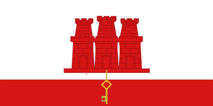 Flag, Gibraltar, Banner, Arms, White
