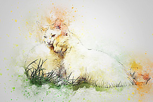 Cat, Hug, Pet, Art, Abstract, Watercolor, Vintage