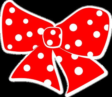 Bow, Red, Dots, Polka, White, Decorative, Ribbon