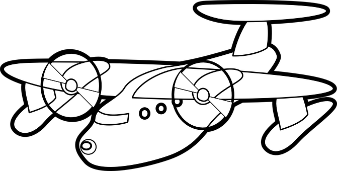 Propeller-driven Airplane, Fly, White, Outline