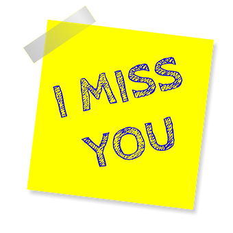 I Miss You, Reminder, Post Note, Sticker, Sticky Paper