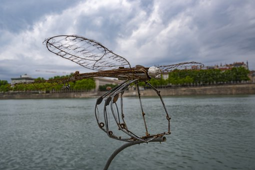 Sculpture, Dragonfly, Water, Insect