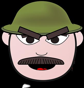 Soldier, Scout, Comic, Man, Face, Moustache, Hunter