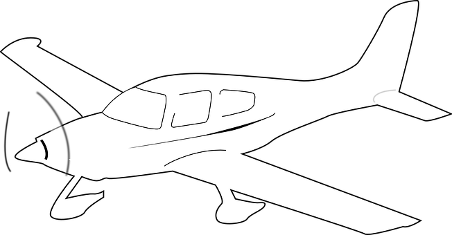 Propeller-driven Airplane, White, Fly, Outline, High
