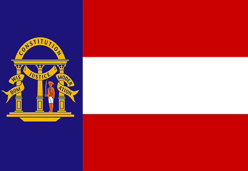 Flag, Georgia, State, Usa, Us, United, States, America