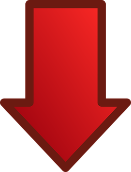 Arrow, Red, Glossy, Down, Download