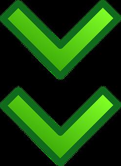 Arrow, Green, Glossy, Down, Below