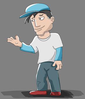 Guy, Baseball Cap, T-shirt, Cartoon, Character