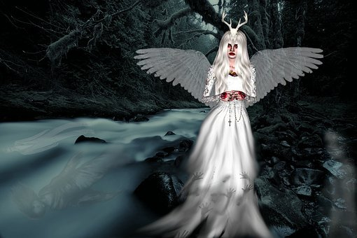 Fantasy, Dark, Spooky, Halloween, Ghost, Wings, Female