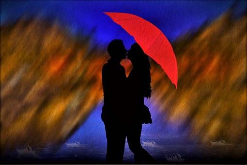 Rain, Lovers, Man, Woman, Pair, Love