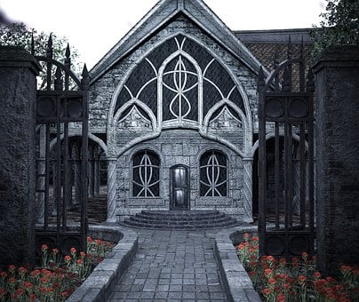 House, Fantasy, Place, Dark, Gate, Home, Building