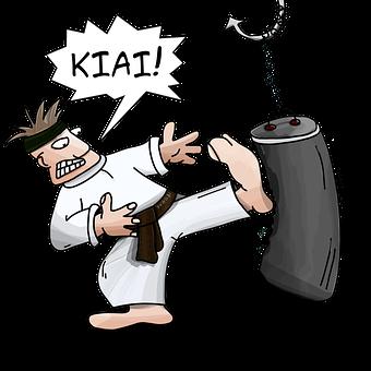Kiai, Karate, Blow, Pear, Kick, Aggression, Training