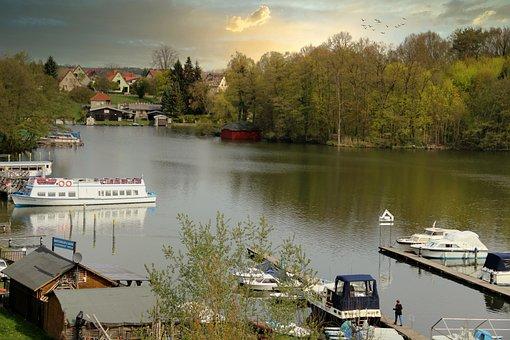 City harbor, Templin, Uckermark, Lake, Ships, Boats