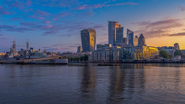 London, Sunrise, England, City, River, Architecture