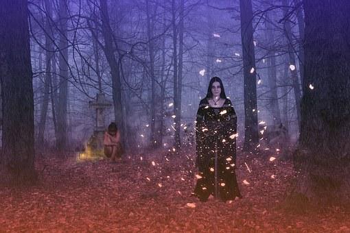 Woman, Young, Gothic, Garment, Forest, Fog, Night, Rain