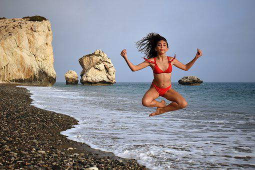Girl, Beach, Sea, Woman, Bikini, Summer, Happy, Jumping