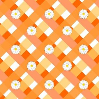 Orange, Hues, Shades, Gingham, Daisies, Pattern