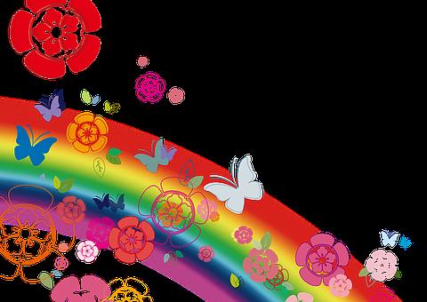 Flowers, Butterfly, Rainbow, Coleus Forskohlii, 繽 紛