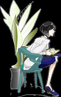 Women, Chair, Sit Down, The Whole Body, Plant, Ueki
