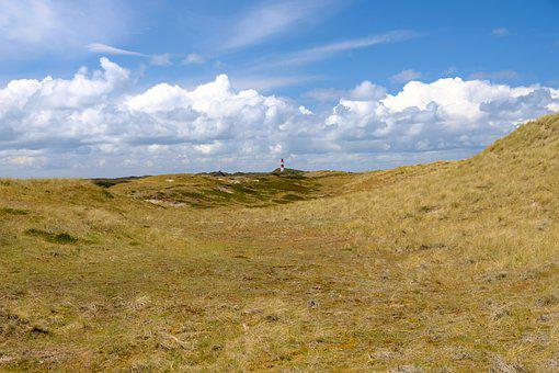 Heide, Lighthouse, Sylt, Dune, Summer, Sky, Clouds
