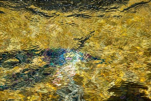 Fountain, Basic, Watercourse, Flow, Golden, Sparkle