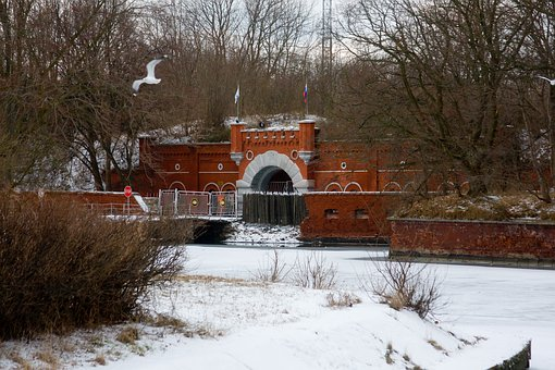 Fort, Gate, Baltiysk, Winter, Gothic, Architecture