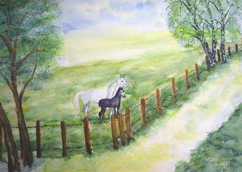 Horses, Coupling, Pasture, Painting, Image, Art, Paint
