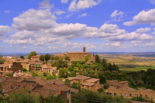 Borgo, Houses, Monastery, Church, Montalcino, Tuscany
